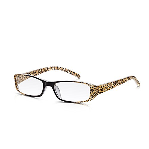 8b9941da32c Read Optics Reading Glasses for Women  Slim Crystal Leopard Print   Black  Full Frame with Contoured Arms in Durable