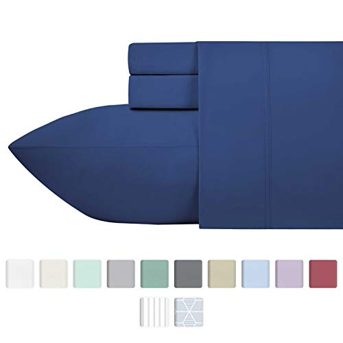 California Design Den 600 Thread Count Best Bed Sheets 100% Cotton Sheets Set - Long-Staple Cotton Sheet for Bed 3 Piece Set with Deep Pocket (True Blue, Twin XL 600TC)
