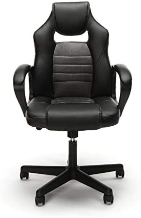 Ergonomic Genuine Leather Computer Gaming Chair Executive Swivel Office Chair with Gray Upholstery