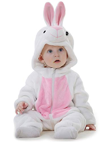 Adorel Baby Boys Hooded Romper Flannel Jumpsuit Onesie White Rabbit 18-24 Months (Label Size: 100) ()