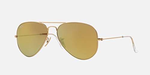 RAY-BAN RB3025 Aviator Large Metal Flash Mirrored Sunglasses, Matte Gold/Brown Mirror Gold, 58 mm (Ray Ban Aviator Lenses Glass Or Plastic)