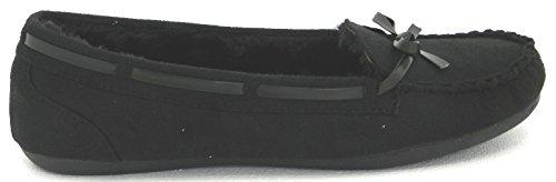 Dames Warme Winter Comfortabele Klassieke Voering Met Bontvoering Mocassin Slip Op Platte Schoenen Zwart C-116