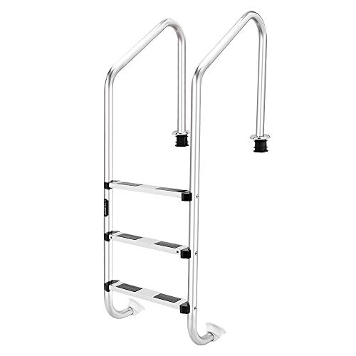 Goujxcy Pool Ladder,in-Pool Plastic Ladder for Above Ground Swimming Pools| White | Heavy Duty | Won't Corrode | Perfect for Salt Water Pools