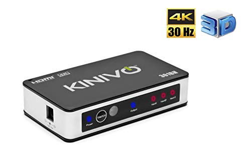Kinivo 301BN 3-Port High Speed 4K HDMI Switch With IR Wireless Remote And AC Power Adapter - Supports 4K 30Hz For Xbox 360/One, PS4/PS3, Nintendo Switch, Blu-ray Player, Apple TV, Roku etc (Best Hdmi Switch For Apple Tv)