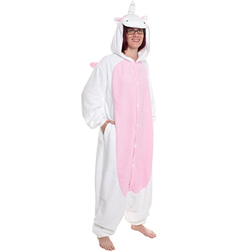 Silver Lilly Adult Pajamas - Plush One Piece Cosplay Pink Unicorn Animal Costume (L) - Boxer 4 Piece Costume