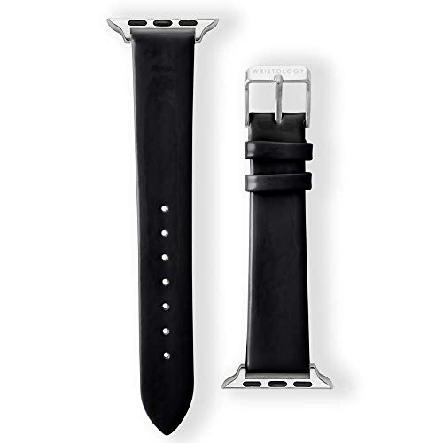 Wristology Apple Watch 38mm Silver Aluminum Womens Interchangeable Replacement Watch Band (Black Patent) - Patent Leather Band