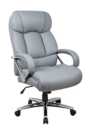 Office Factor Leather Office Chair, Fully Adjustable Big and Tall Office Chair, Swivel Office Chair with Castor Wheels, 500 Lbs Rated Leather Executive Chair (Gray)