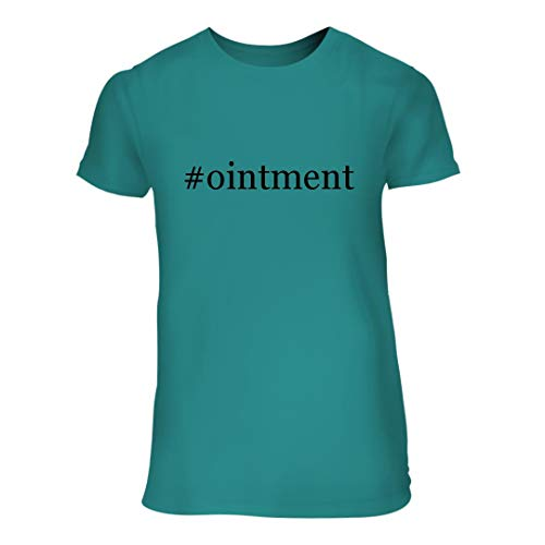(#Ointment - A Nice Hashtag Junior Cut Women's Short Sleeve T-Shirt, Aqua, Large)