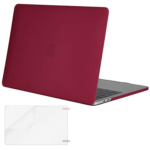 MOSISO MacBook Pro 13 Case 2018 2017 2016 Release A1989/A1706/A1708, Plastic Hard Shell Cover with Screen Protector Compatible Newest MacBook Pro 13 Inch with/Without Touch Bar, Wine Red