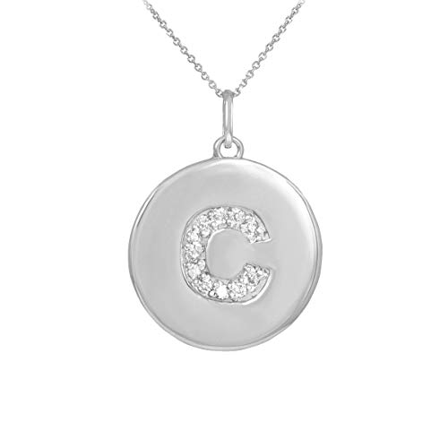 "Solid 10k White Gold Initial Letter""C"" Diamond Disc Pendant Necklace, 16"""