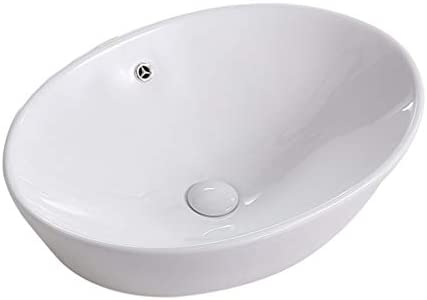 DS- バスルームの洗面台、カウンタ流域家庭ボウル状の単流域(タップ無し)、60.5X43X20cm上記楕円セラミックシンク 洗面ボール && (Size : 60.5X43X20cm)