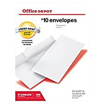 Office Depot Clean Seal(TM) Envelopes, #10 (4 1/8in. x 9 1/2in.), White, Box Of 500, 12014