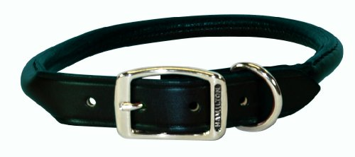 "Hamilton 1"" x 22"" Black Rolled Leather Dog Collar"