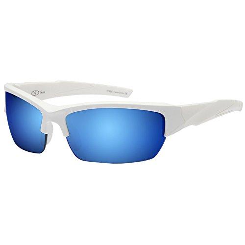 Siren Vanguard Sports Sunglasses UV400 Choose Polarized Normal Lens (NON Polarized Blue Mirror Lens White Frame)
