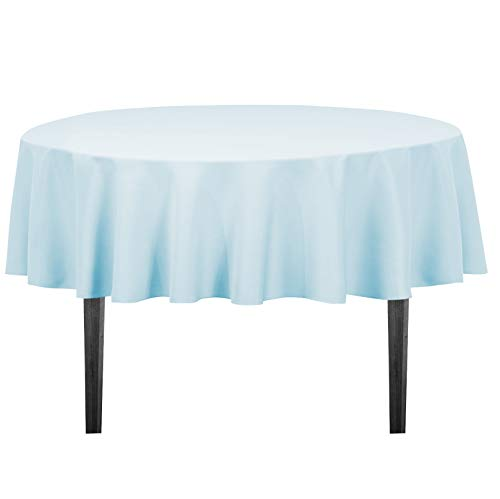 LinenTablecloth 70-Inch Round Polyester Tablecloth Baby Blue ()