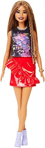 ​Barbie Fashionistas Doll with Long Braided Hair Wearing Girl Power T-Shirt, Red Pleather Skirt and Accessorie