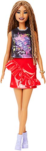 Barbie Fashionistas Doll with Long Braided Hair Wearing Girl Power T-Shirt, Red Pleather Skirt and Accessories, for 3 to 8 Year Olds