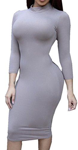 unita Vestito da matita Abito Rotondo Tinta Collo Grigio a Vestitino Vestiti a lunga a Donna Abiti Sexy di Slim Tubino Manica Midi Dress tRZfqf