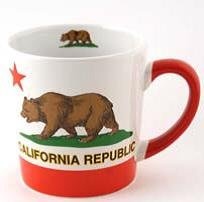 CM California Bear Flag Republic Coffee Mug 16oz Taper Large SFMUGOLA With Exclusive Copyrighted CA Bear Magnet (Taper Mug)