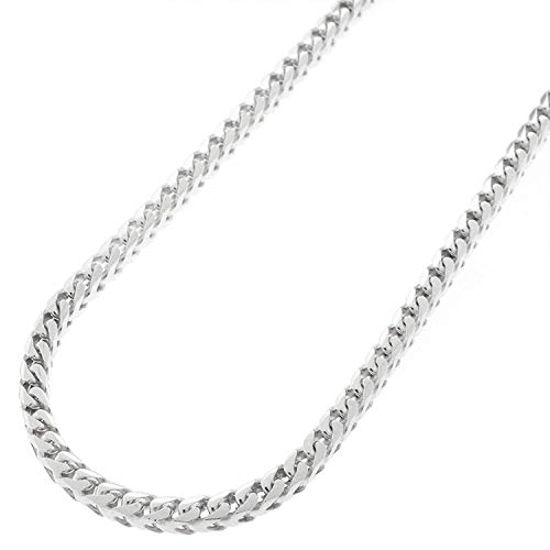 "Sterling Silver Italian 3mm Solid Franco Square Box Link 925 Rhodium Necklace Chain 16"" - 30"" (16)"