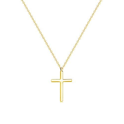 MOMOL Tiny Cross Pendant Necklace, 18K Gold Plated Stainless Steel Cross Necklace Simple Small Dainty Cross Pendant Christian Religious Chain Necklace for Women Girls (2)