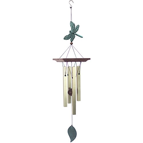 Wind Chimes Outdoor Amazing Grace,Sympathy Wind Chimes Dragonfly for Garden,Wind Chimes Memorial with 4 Square Metal Tubes, Bird Collection,Golden ()