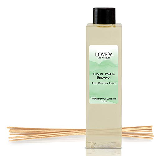 - LOVSPA English Pear & Bergamot Reed Diffuser Oil Refill with Replacement Reed Sticks | Sparkling Bergamot and Crisp Sliced Pears with a Light Wisper of Fresh Cut Wood, 4 oz | Made in The USA