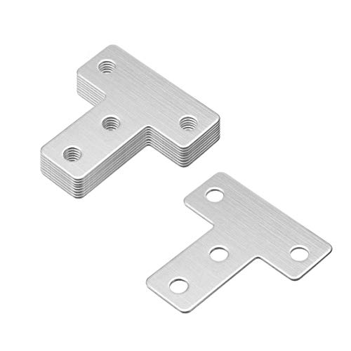 Yoohey 40mmx40mm T Shape Bracket Repair Mending Plate, Stainless Steel Corner Brace Joint Fastener Support for Wood Furniture, Chests, Windows (Pack of 20) (Chest Bracket)