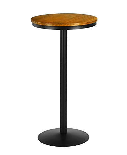 VILAVITA Wood Pub Table Round Bar Table Wood Top with Metal Leg and Base, 21.65 Top and 41.34 Height, Retro Finish