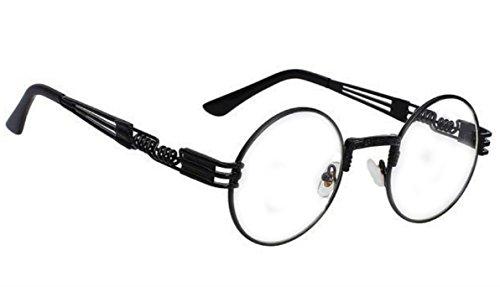 WebDeals - Round Circle Metal Sunglasses Steampunk Bold Design Frame (Black, - Frame Black Circle Glasses