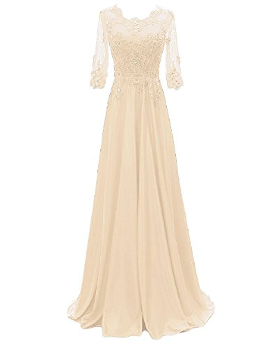 - OYISHA Women's 1/2 Sleeve Lace Beaded Formal Evening Dress with Sleeves Long Mother of The Bride Dresses Champagne 14