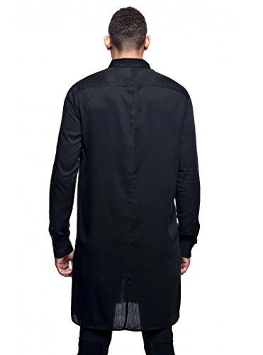 Stratom - Chemise Longue Homme Noir Oversize Design Stratom