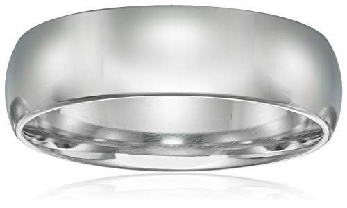 ow Dome, White, Comfort Fit Plain Wedding Band, White, Size 9 ()