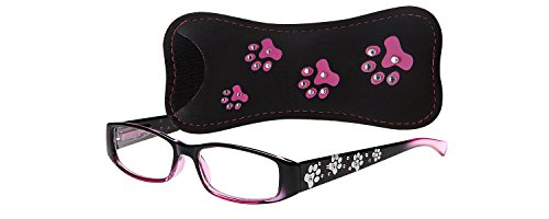 Select-A-Vision Dog Bone Rectangular Reading Glasses w/Pawprint Design, Pink, 1.50