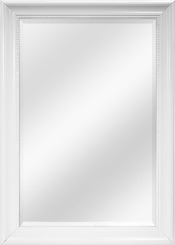 MCS 24x36 Inch Beaded Rectangular Wall Mirror, 30x42 Inch Overall Size, White (20456)