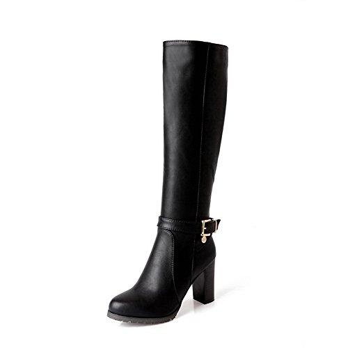 AdeeSu Womens Casual Buckle Comfort Urethane Boots SXC01907 Black