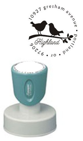 CUSTOM XSTAMPER DESIGNER ROUND ADDRESS STAMP Silhouetted Birds On Branch Design Black Ink Perfect For Personal, Family, Business, Wedding And Event Needs -- Makes A Wonderful Gift May Be Available In Other Colors (Silhouetted Bird)