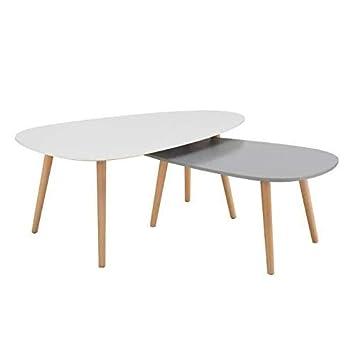 Idmarket Lot De 2 Tables Basses Gigognes Laquees A Motifs Blanc