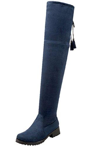 Casual Confortable Bottes Lacets Plat Faux Femme Longues BIGTREE De Pliable Hiver Bleu Automne Bottes Cuissardes Chaudes Suède qw8xpIU