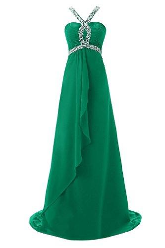 Topdress Women's Halter Evening Dress Crystals Straps Prom Dresses Formal Gown Green US 4