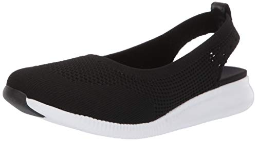 (Cole Haan Women's 2.Zerogrand Stitchlite Ballet Sling Flat, Black Knit/Optic White, 7 B US)