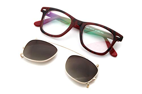 Non de shape Del classic Rojo on Acetate Prescription sunglasses Clip eyewear Oro Clip Marco qIwXZxzx6f