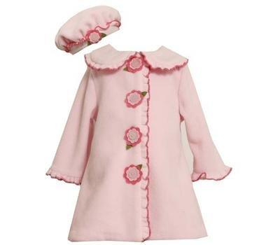 Bonnie Baby-girls Newborn Two Piece Fleece Coat and Hat Set