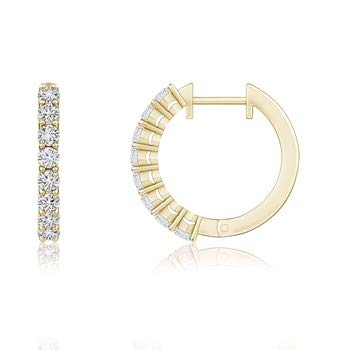 Airline-Set Diamond Hinged Hoop Earrings 2.5mm Diamond