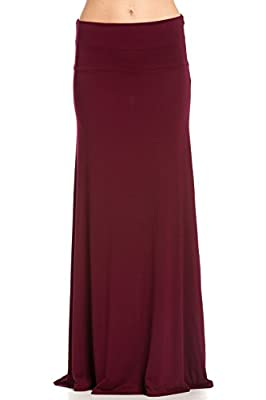 Frumos Womens Solid Flared Modal Maxi Skirts