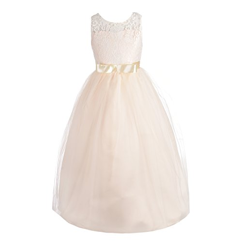 Dressy Daisy Girls Pageant Wedding Flower Girl Dresses Lace Ball Gown Floor Length Size 4 Champagne