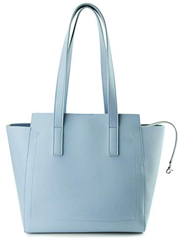 Women Tote Multiple Pockets Organized Shoulder Handbag for Work and Weekend, Office Lady Leather Bag (Blue)