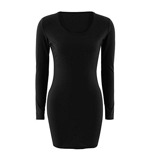XINGMU Funda Completa Sólida De Cuello O Las Mujeres Visten Funda Mini Vestidos Negro
