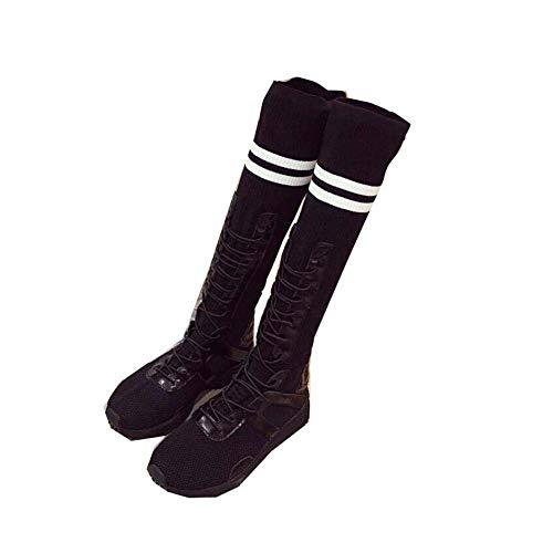 Bottes Rondes Orteil Femmes Taille Sport Lacet Stretch Sport Jusqu'à De Mi L'ue 39 Black 35 Mollet Chaussures Chaussettes Casual Bottes RXvxIqvf