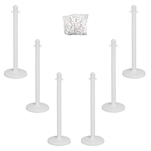 Mr. Chain 71101-6 White Plastic Stanchion Kit with 50